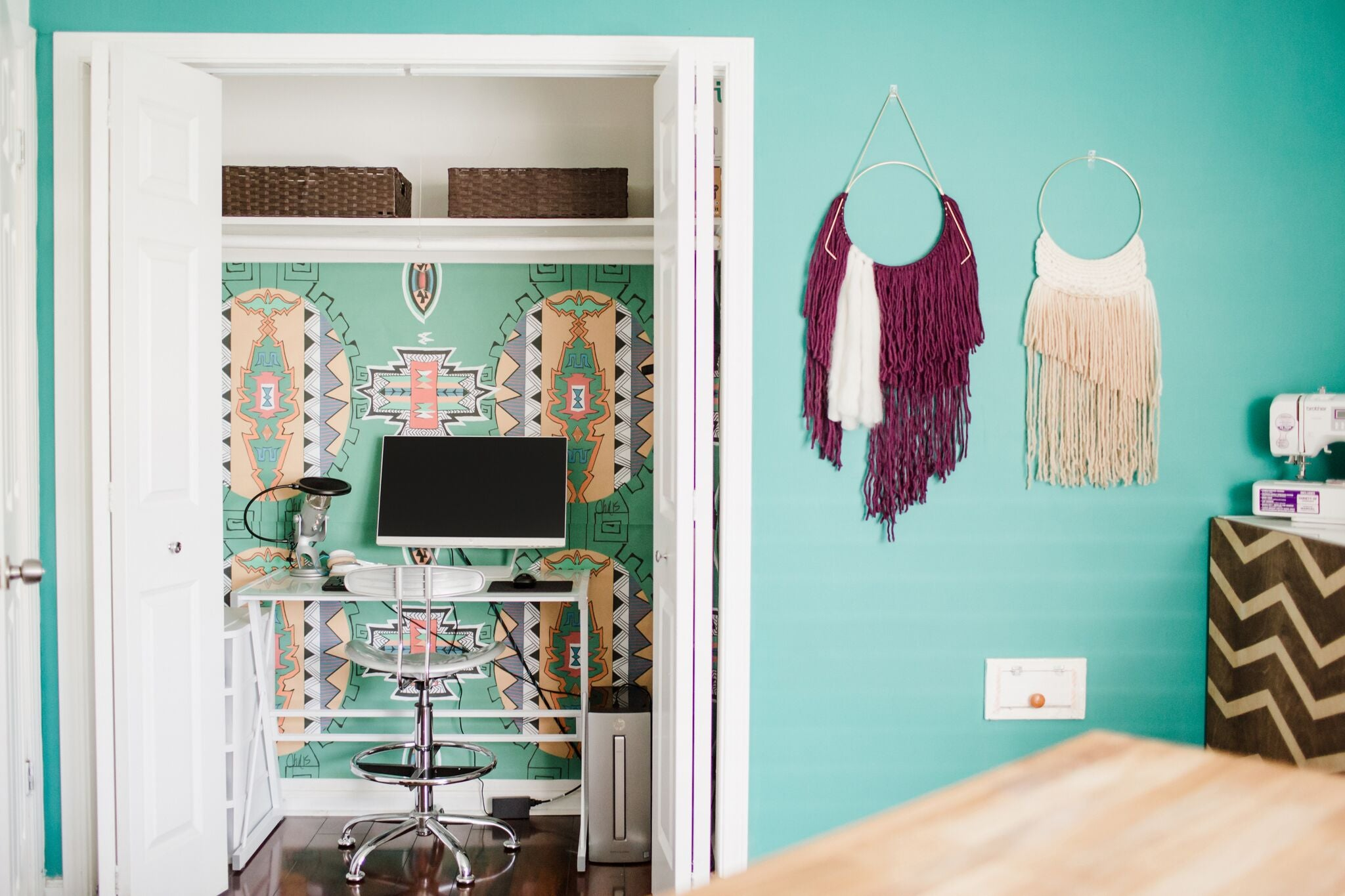 bright teal fun home office craft room on astral riles blog 47