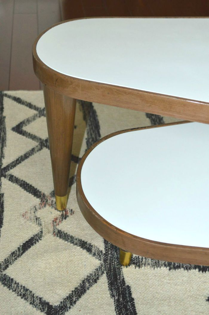 close up 2 - painted vintage swivel Coffee table on astral riles