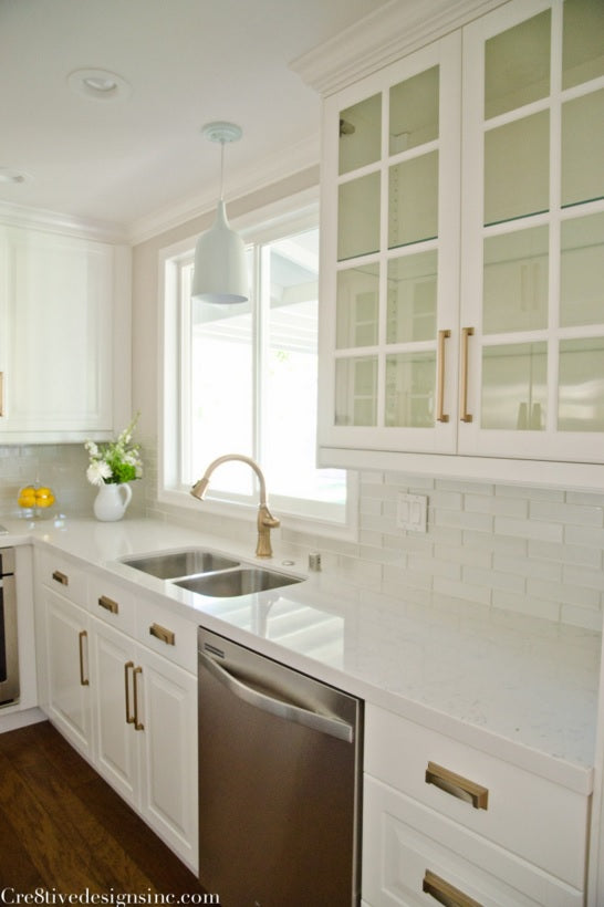 gold hardware in kitchen - cre8tive design - on astral riles blog post