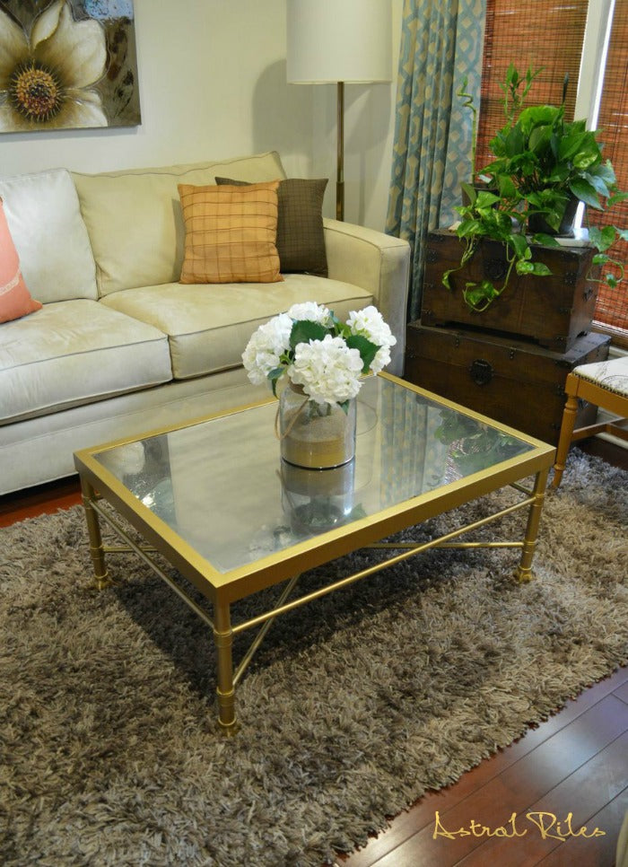 Budget Diy Metal Coffee Table Makeover Using Rustoleum Spray Paint Astral Riles