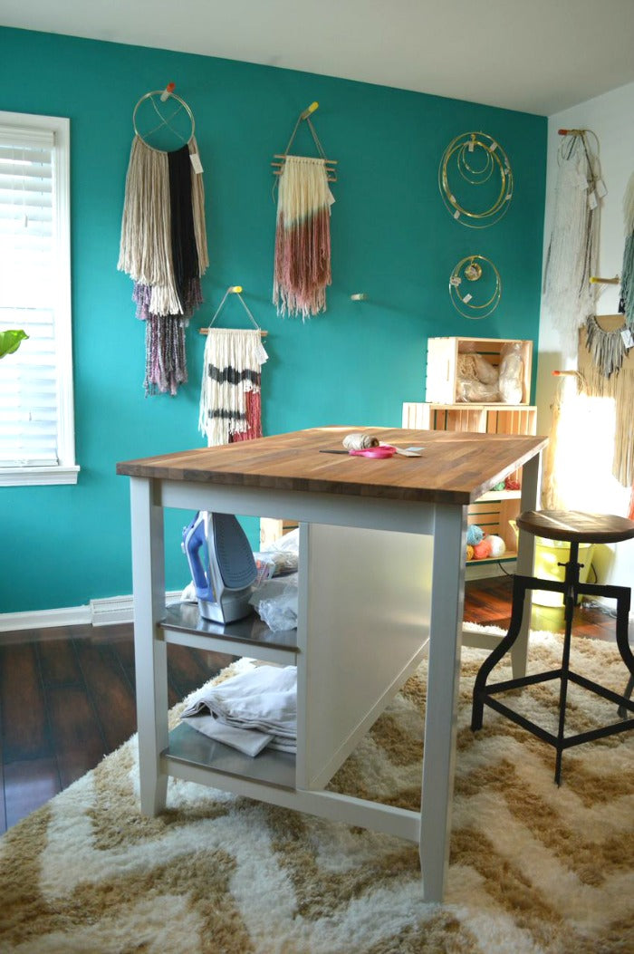 kitchen island as craft desk on astralriles 3