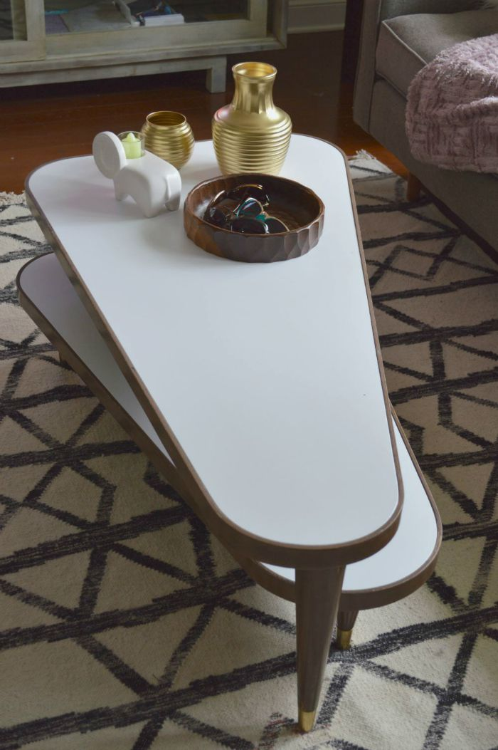 painted vintage swivel Coffee table on astral riles 3