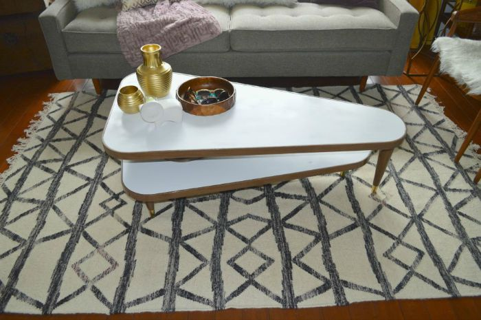 painted vintage swivel Coffee table on astral riles