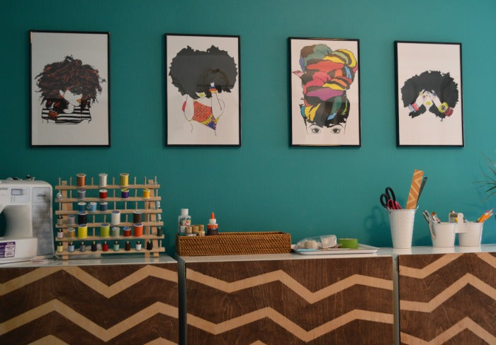 pardon my fro prints - craft room redesign on astral riles