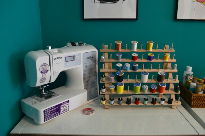 sewing machine - closeup - craft room redesign on astral riles