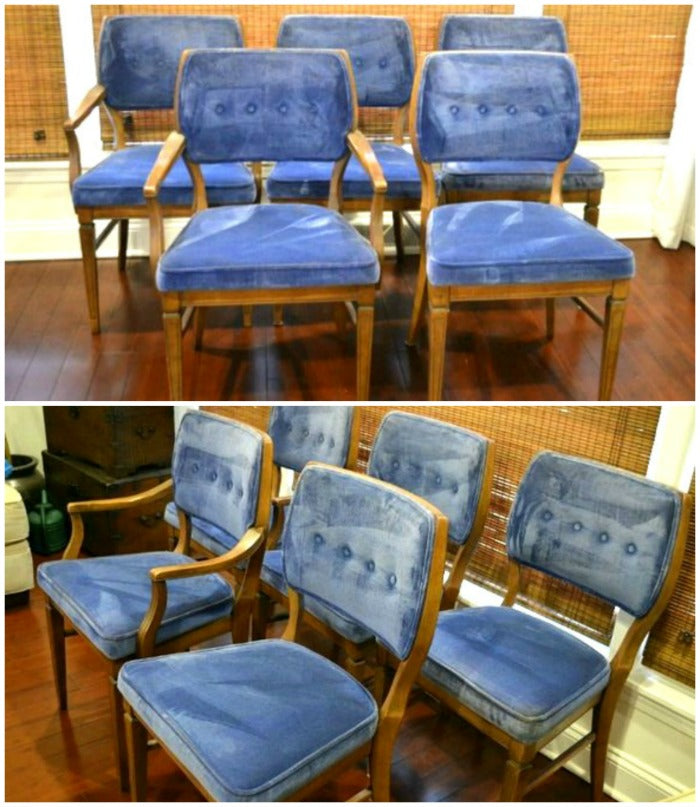 vintage blue velvet dining chairs on astralriles.com