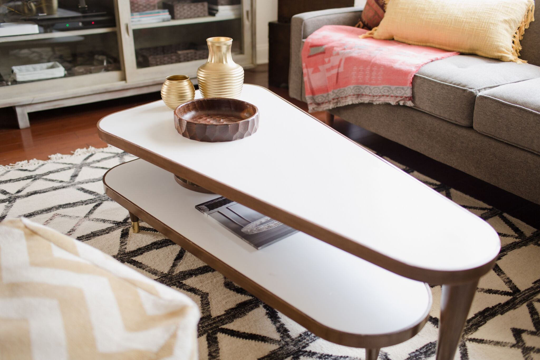 vintage modern living room design on astral riles blog - mid century modern 2 tier swivel table