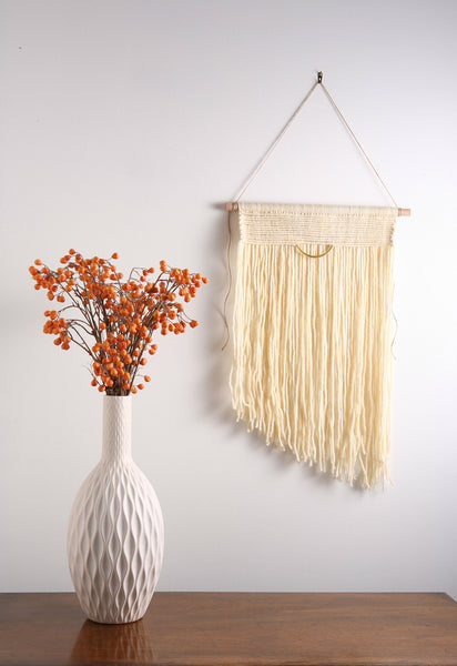 Off White / Cream Modern Macrame Wall Hanging Tapestry on Wood Bar w/ Brass Accent