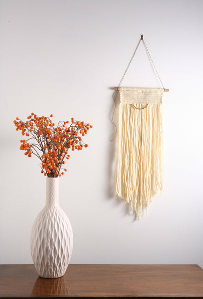 Off White / Cream Vintage Modern - Fiber Art Macrame Wall Hanging Tapestry on Wood Bar w/ Brass Accent.