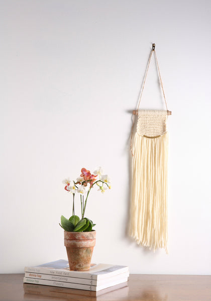 small Off White / Cream Modern Macrame Wall Hanging Tapestry on Wood Bar w/ Brass Accent