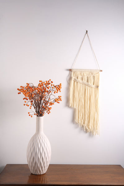 Off White / Cream Modern Macrame Wall Hanging Tapestry on Wood Bar w/ Brass Accents