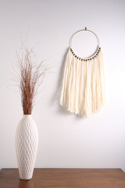 "White Fiber Art Macrame Wall Hanging on 10"" Hoop with Brass Accents"