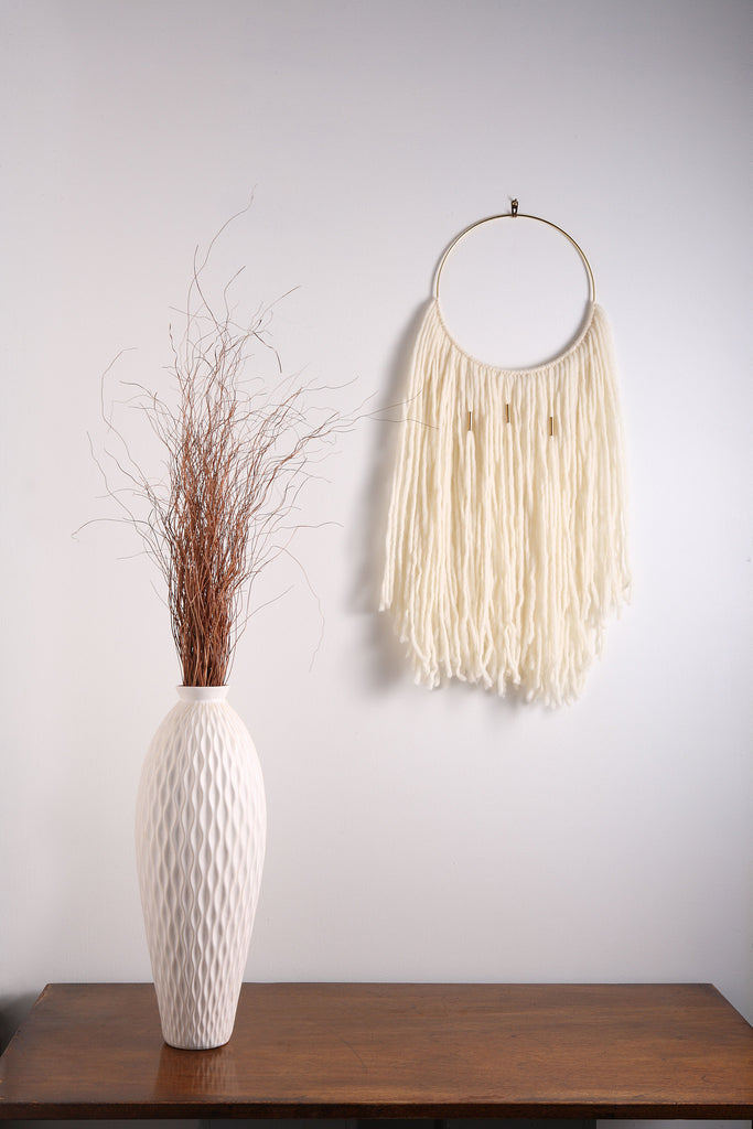 "White fiber art modern macrame wall hanging on 10"" brass ring w/ 3 brass accents"