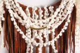 "Large Brown + White Leather Fringe Dream Catcher Macrame Wall Hanging on 12"" Brass Hoop"