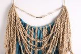 "Large Teal Leather Fringe Leather Dream Catcher Macrame Wall Hanging on 12"" Brass Hoop"