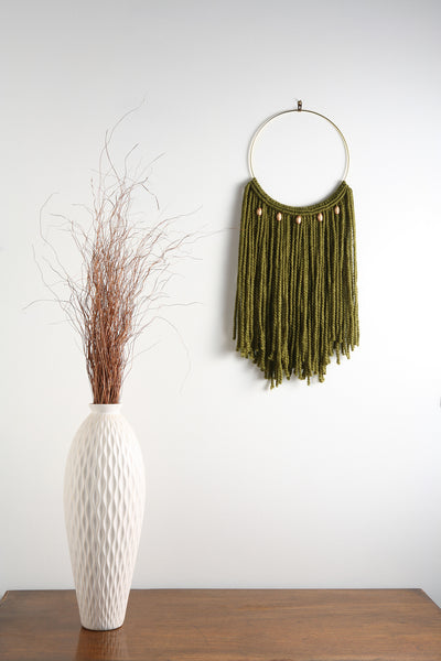 "Emerald Green Macrame Wall Hanging Tapestry on 10"" Brass Hoop w/ Wood Beads"