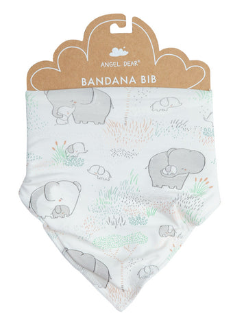 Bandana Bib in Grey Elephant Family