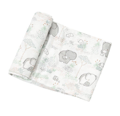 Grey Elephant Family Swaddle Blanket