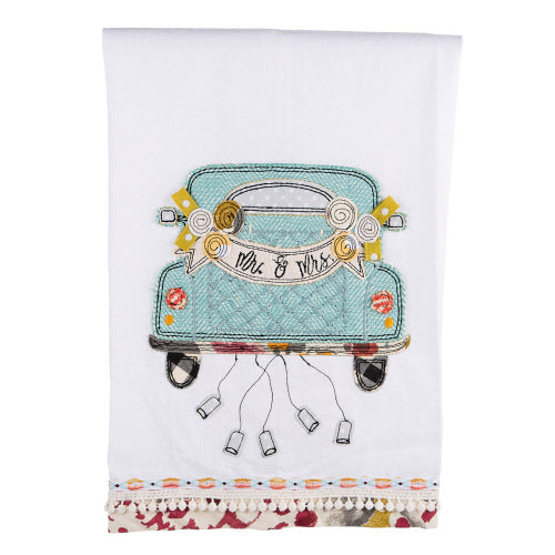 Mr. & Mrs. Wedding Car Tea Towel