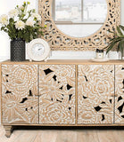 . P U  Dahlia Carved Sideboard  - Pre Order Due May