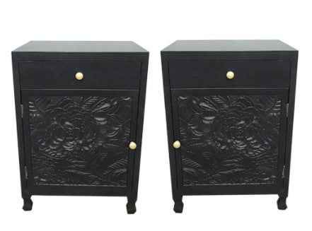 . P U  Dahlia Carved Bedside SET Black - Pre Order Due June