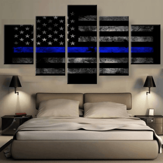 5 Panel American Thin Blue Line Canvas (Rated #1 Canvas in 2017)