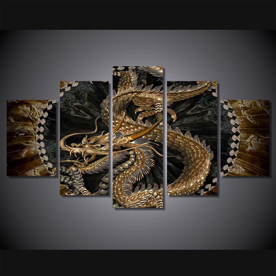 5 Piece Dragon Art Canvas