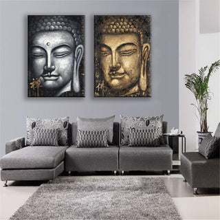 2 Piece Buddha Religious Face Canvas