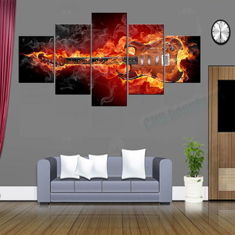 5 Panel Fire Guitar Canvas