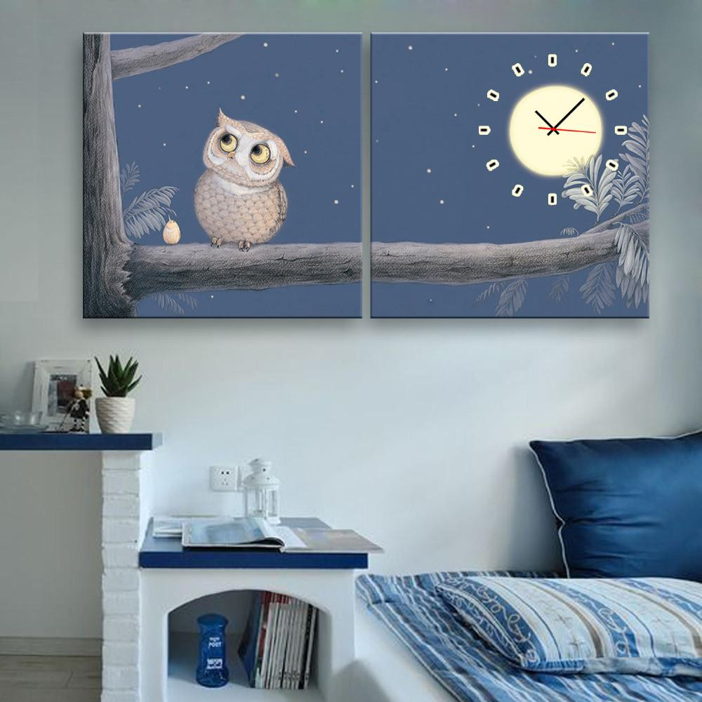 Night Owl Clock Canvas