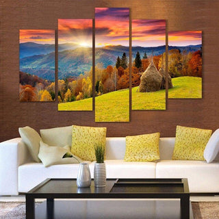 5 Piece Gold Wheat Field Canvas