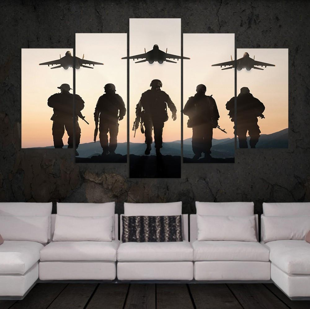 "5 Panel Soldiers ""Heroes Of War"" Canvas"