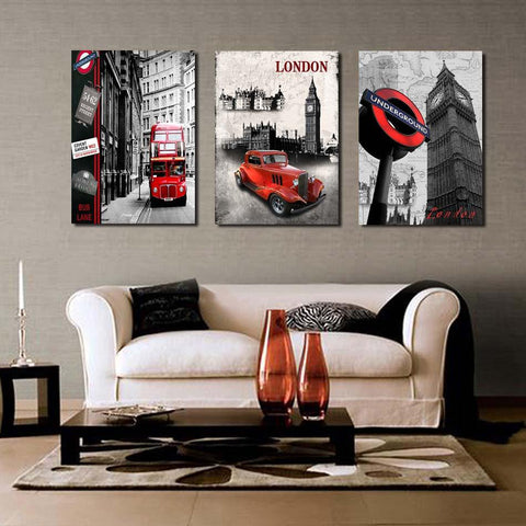 3 PIece Street Car & London City  Canvas
