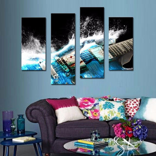4 Panel Guitar Waves Canvas