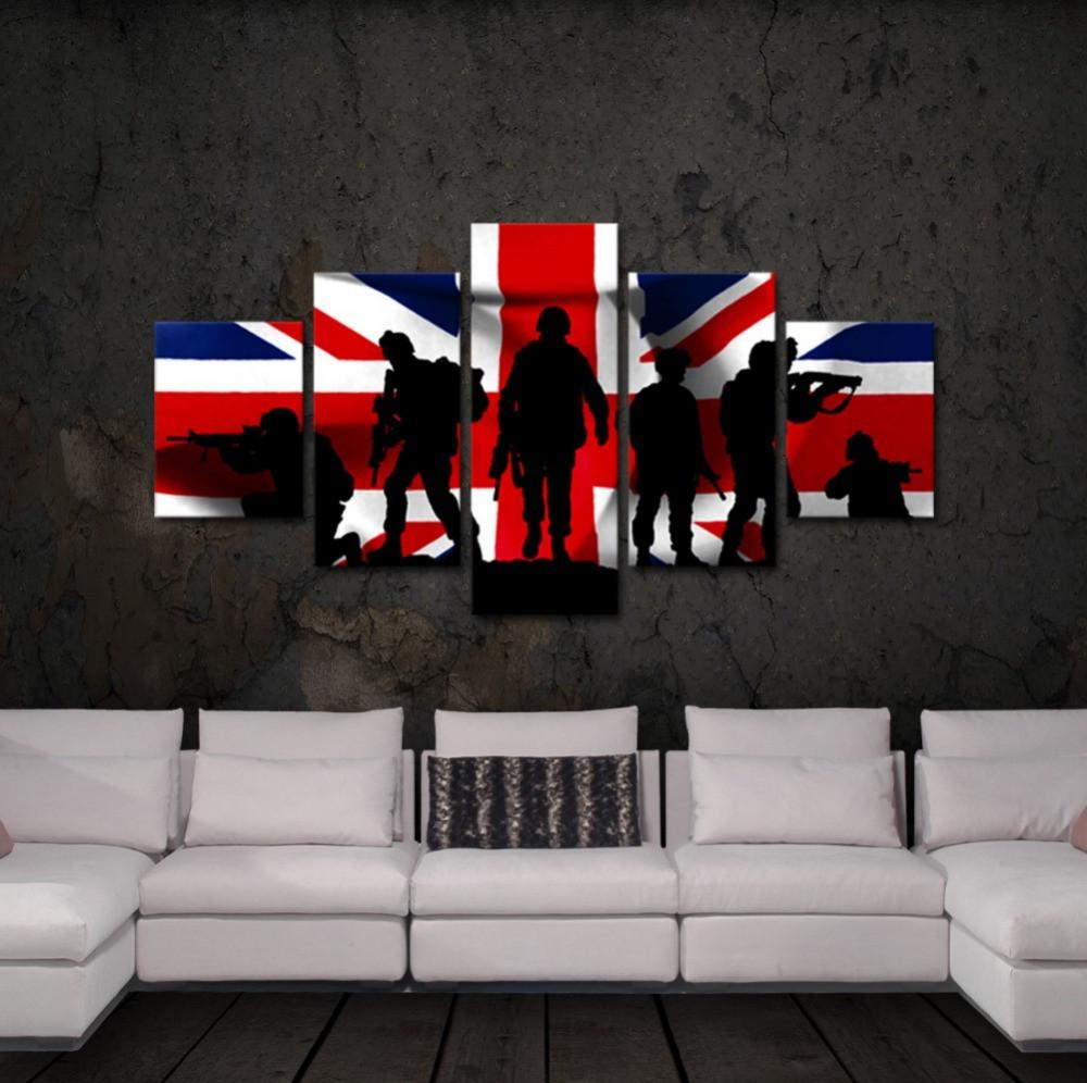 5 Panel United Kingdom Flag with Soldiers