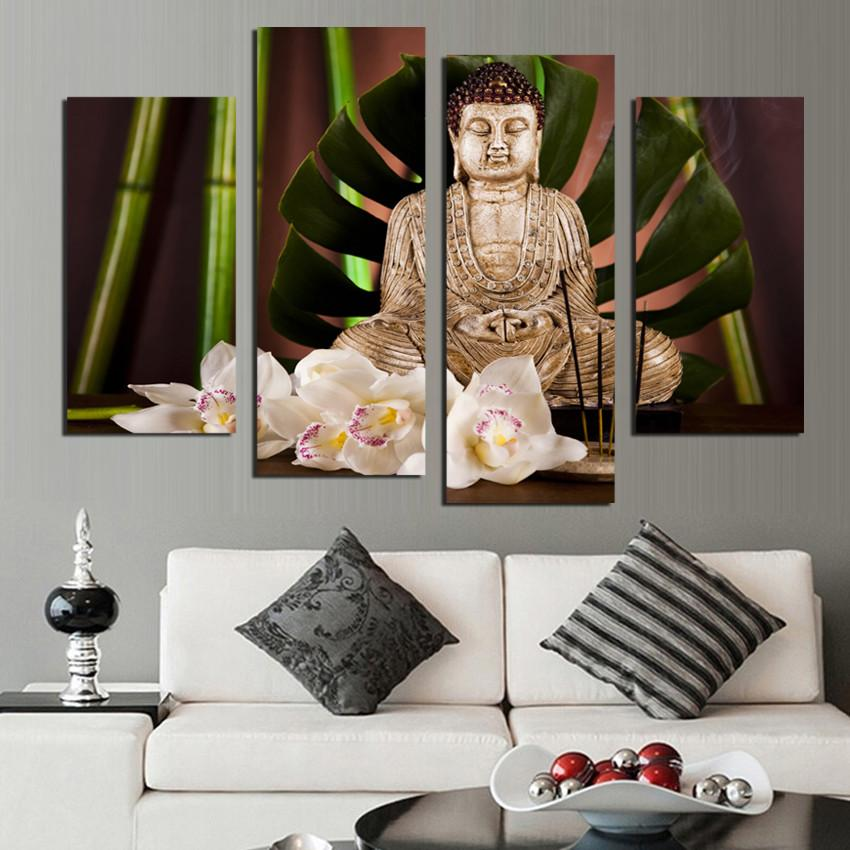 4 Piece Antique Buddha Canvas