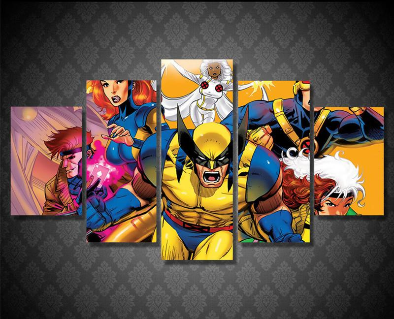 5 Piece X-Men Abstracted Canvas