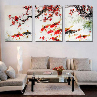 3 Piece Cherry Blossom Koi Fish Canvas