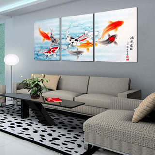 3 Piece Koi Fish W/ Chinese Letters Canvas