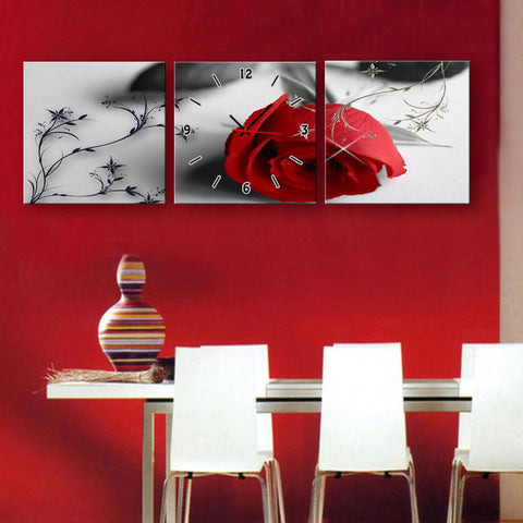 Red Rose Clock Canvas