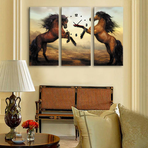 Two Horse Clock Canvas