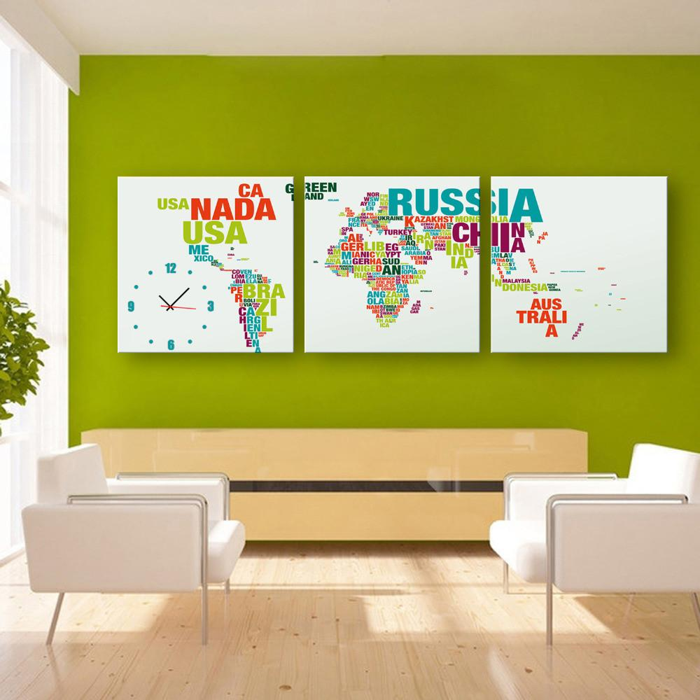 3 Piece Alphabet Map Clock Canvas