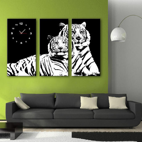 Two Tiger Wall Clock Canvas