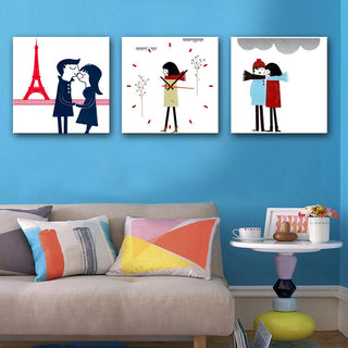 Lovely Couple Clock Canvas
