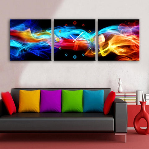 Colorful Light Clock Canvas
