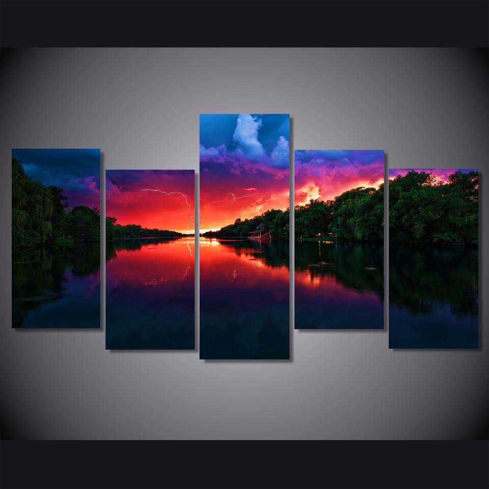 5 Piece Red Sky Canvas