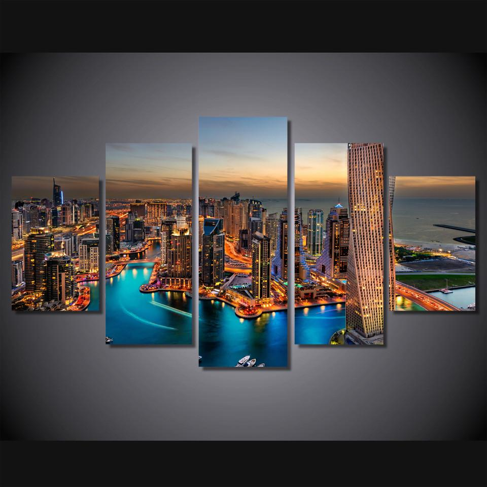 5 Piece Dubai Skyscrapers Canvas