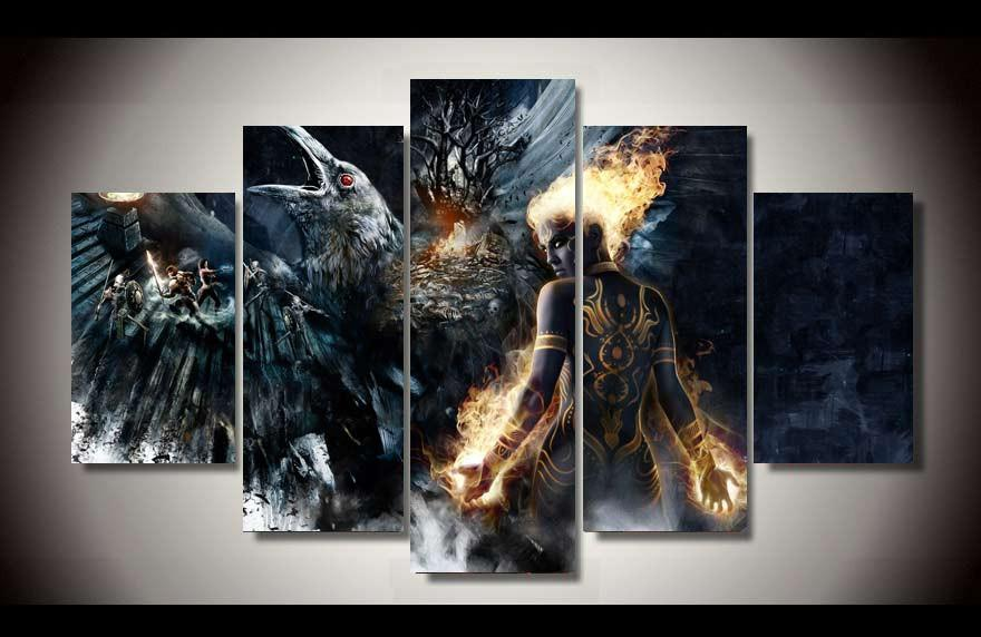 5 Pieces HD Fantasy Battle Modern Canvas