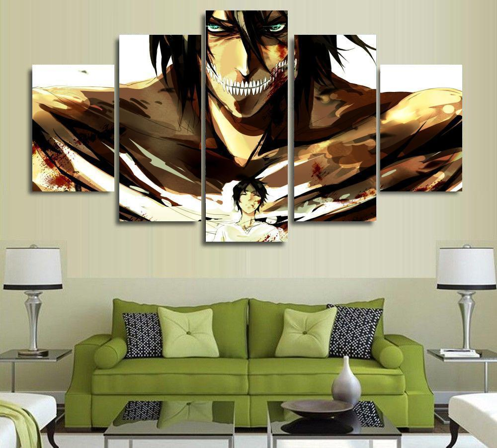 5 Panels Wall Art Attack on Titan Eren Yeager