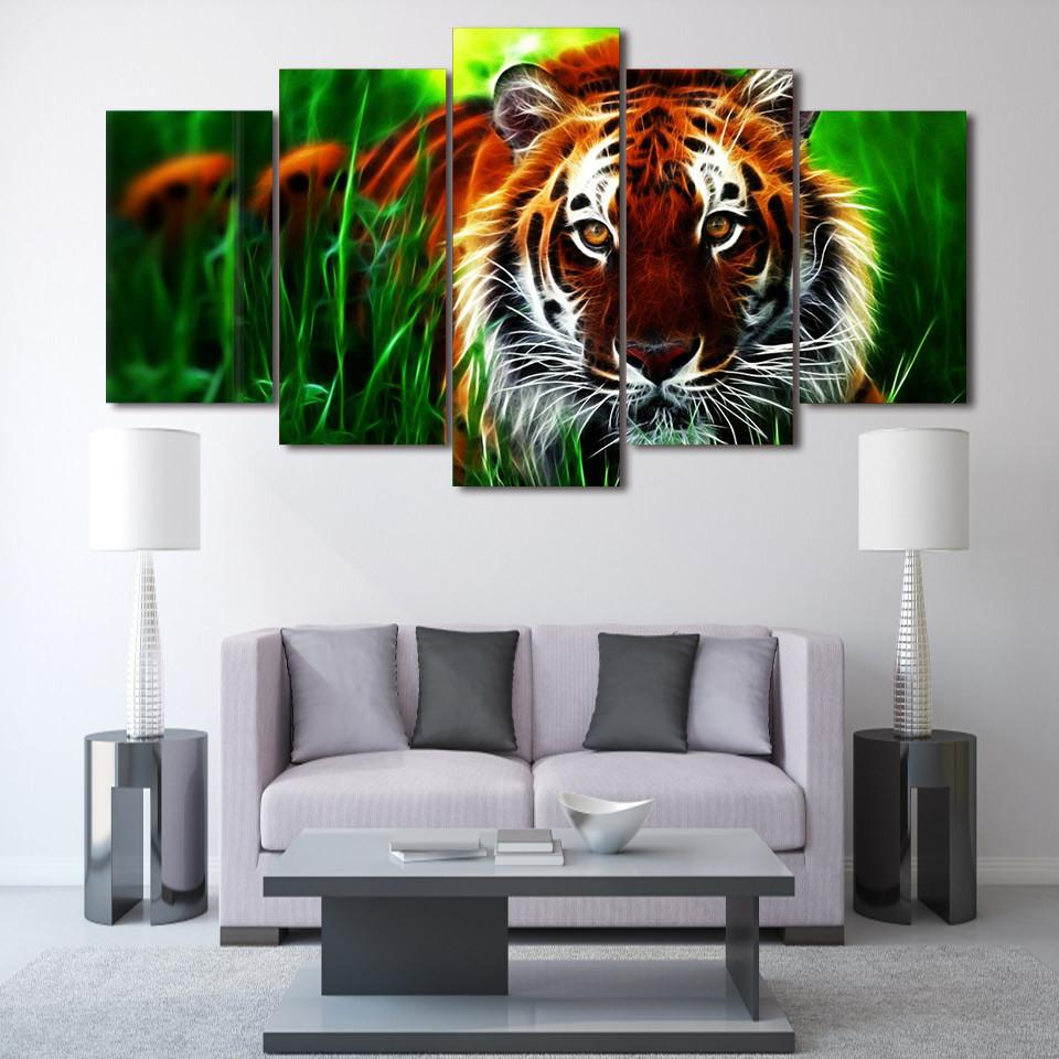 5 Panel Jungle Tiger Canvas